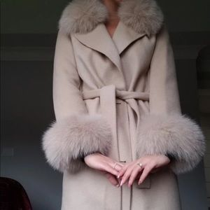 NEW Wool blend cashmere, real fur coat
